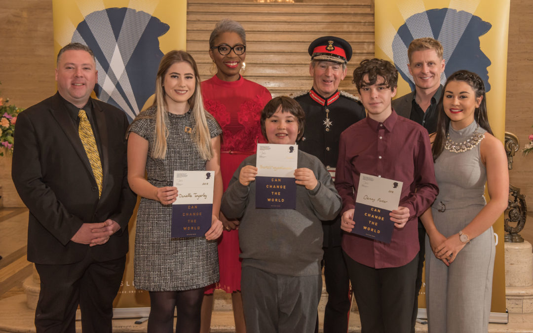 Actor Gerard McCarthy and Lord Lieutenant of County Down honour outstanding young heroes in Belfast with award in memory of Princess Diana