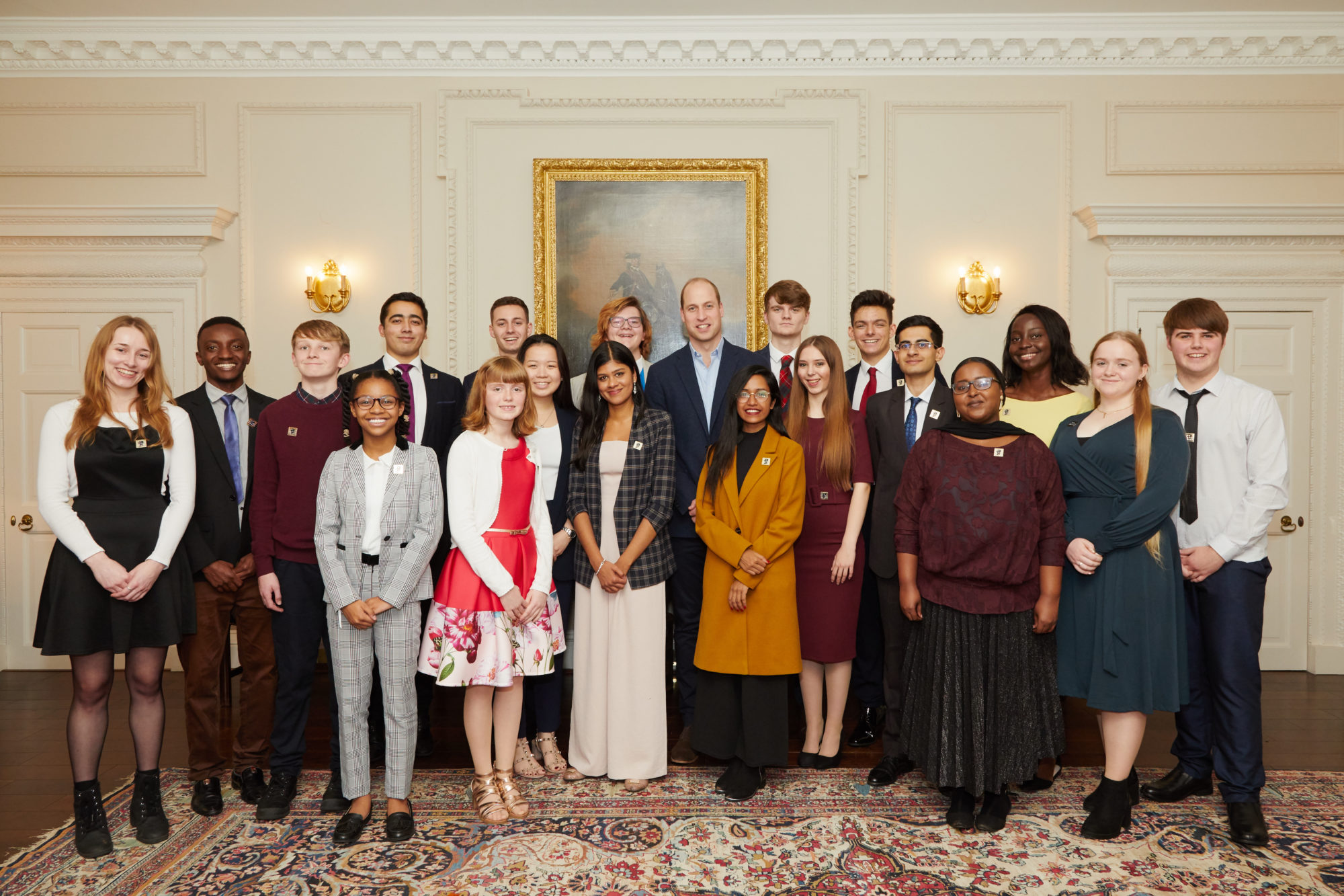 A group portrait of 2019 Legacy Award recipients and HRH The Duke of Cambridge at Kensington Palace